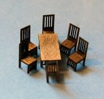 Arts and Crafts Era Dining Room and 6 Chairs Set 1/144th scale