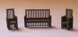 Arts & Crafts Era Sofa and 2 Chairs Set 1/144th scale