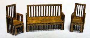 Arts & Crafts Era Sofa and 2 Chairs Set 1/120th scale