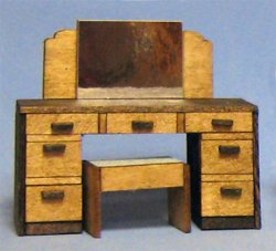 Art Deco Vanity With Mirror and Bench Half-inch scale