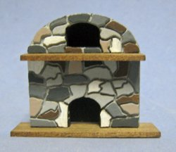 Arched Stone Fireplace Quarter-inch scale
