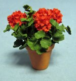 Geraniums in a Terra Cotta Pot One-inch scale