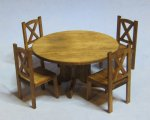 Hampton Dining Table and 4 Chairs Half-inch scale
