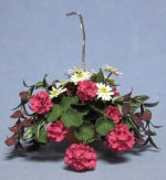 Mixed Flowers in a Terra Cotta Hanging Basket One-inch scale