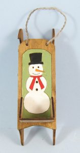 Antique Sled with Etched Snowman One-inch scale