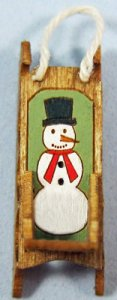Antique Sled with Etched Snowman Quarter-inch scale