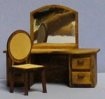 Tribeca Dressing Table and Chair Quarter-inch scale