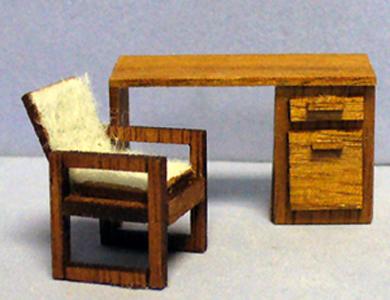 Astonishing Alexs Desk And Chair Quarter Inch Scale 0 00 Sdk Theyellowbook Wood Chair Design Ideas Theyellowbookinfo
